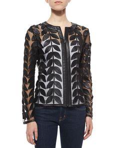 TC1T9 Bagatelle Leather Leaf Mesh Jacket, Black
