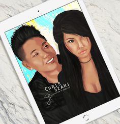 Digital Portrait that I painted of my husband & myself! :) (Instagram: @szanilee)