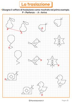 Schede didattiche sulla traslazione 1Esercizi sulla traslazione 1 New Years Eve Party, Drawing For Kids, Teaching Math, Blackwork, Pixel Art, Diagram, Bullet Journal, Coding, Education