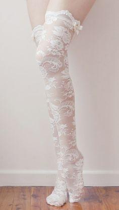 white lace knee high socks