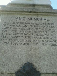 Inscription on Titanic Memorial
