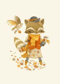 Rebecca the Radish Raccoon Art Print, Teagan White Art And Illustration, Illustrations Posters, Raccoon Illustration, Illustration Children, Raccoon Art, Woodland Creatures, Cute Art, Character Design, Art Prints