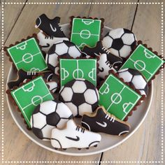 Voetbal koekjes Soccer cookies (shoes, field, ball)