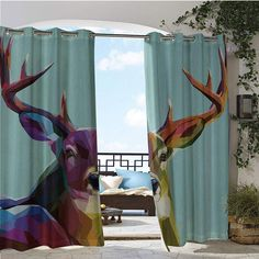 Outdoor Privacy Curtain for Pergola, Modern Illustration of Low Poly Deer with Triangle Psychedelic Polygonal Stylized Retro Art, Thermal Insulated Water Repellent Drape for Balcony x Inch Mul Outdoor Privacy, Canopy Outdoor, Outdoor Areas, Sun Sails, Sail Canopies, Concrete Footings, Privacy Curtains, Sun Sail Shade, Steel Columns