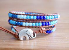 Baby Blue Coral Bohemian beaded leather wrap, cobalt blue, Azure blue, elephant bracelet