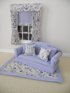 MINIATURE DOLL HOUSE 12TH SCALE FURNITURE 3 PCE LIVING ROOM SET BLUE GINGHAM NEW | eBay