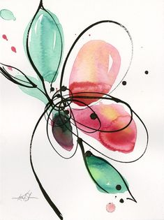 """Flower Drawing Abstract Flower Watercolor Ink Painting Minimalistic Floral - This is from a brand new series called """"Ecstasy Bloom """". Size: x Watercolor, Mixed Water Media Abstract Watercolor, Watercolor And Ink, Watercolor Flowers, Watercolor Paintings, Poppies Art, Art Paintings, Abstract Art, Floral Paintings, Arte Floral"""