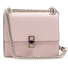Fendi Kan I leather cross-body bag (€1.610) ❤ liked on Polyvore featuring bags, handbags, shoulder bags, leather crossbody, leather crossbody handbags, pink crossbody purse, leather crossbody purse and leather purses