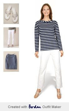 I felt very Liz Hurley in this combo. Perfect white crop jeans and blighty boatneck from Boden.