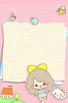 kawaii letter paper design with a cute girl Cute Pastel Wallpaper, Kawaii Wallpaper, Pink Wallpaper, Iphone Wallpaper, Kawaii Planner, Japanese Drawings, Blog Backgrounds, Kawaii Doodles, Cute Notes