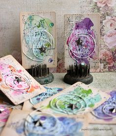 Calling cards with watercolor by Riikka Kovasin for Prima Marketing