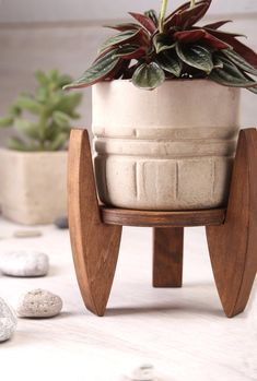 Diy Wood Projects, Wood Crafts, Woodworking Projects, Modern Plant Stand, Wood Plant Stand, House Plants Decor, Plant Decor, Mini Plants, Potted Plants