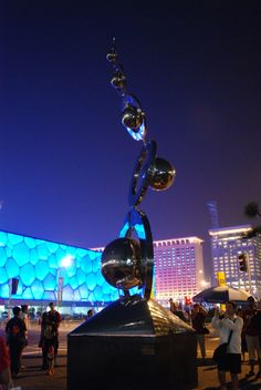 """Ralfonso's """"Dance with the Wind"""" kinetic wind sculpture at the 2008 Olympic Games in Beijing Wind Sculptures, Sculpture Art, Kinetic Art, Olympic Games, Cn Tower, Beijing, Travel, Dance, Inspiration"""