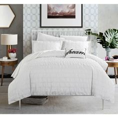Perfect for creating a modern and sophisticated ambiance in your bedroom, the Calamba Duvet Cover Set features ruched panels crafted in cotton. With matching pillow shams and an embroidered throw pillow, this set is cozy, chic and comfortable. White Duvet Covers, Duvet Cover Sets, Online Bedding Stores, Ruffle Bedding, Cotton Duvet, Cotton Fabric, Comforter Sets, All Modern, Luxury Bedding