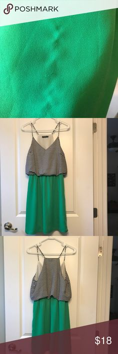 THML green with black and white stripe dress REPOSH!! Size Small. Beautiful dress, just too big in the bodice for me! Fits more like a medium so it's listed as medium. Perfect condition except for a tiny snag on the front, but can barely be seen. Exactly asking what I paid for the dress. THML Dresses