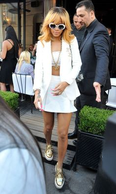 Rihanna in Chanel blazer out in Paris