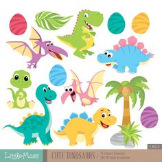 Cute Dinosaur Digital Clipart от LittleMoss на Etsy
