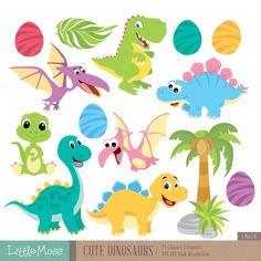 Cute Dinosaur Digital Clipart by LittleMoss on Etsy