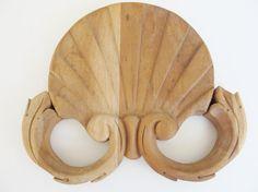 Vintage Wood Pediment Architectural Trim Unfinished by JasVintage, $25.00