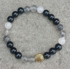 Chinese knot Onyx, Smokey Quartz and White Agate Bracelet by MyOhmStyle on Etsy