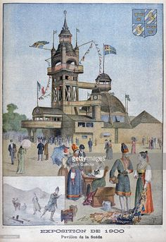 The Swedish pavilion at the Universal Exhibition of 1900, Paris, 1900. Exposition Universelle of 1900 was a world's fair held in Paris, France, to celebrate the achievements of the past century and to accelerate development into the next. An illustration from Le Petit Journal, 12th August 1900.
