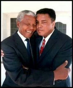 Nelson Mandela and Muhammad Ali. I love this picture because I LOVE LOVE LOVE Muhammad Ali. I grew up in his heyday.he was an icon for me.