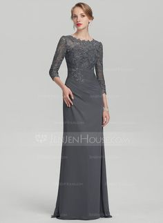 50414066e0b5 A-Line Princess Scoop Neck Floor-Length Chiffon Lace Mother of the Bride  Dress With Ruffle (008114260)