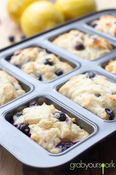 These Blueberry and Lemon Loaves are just so easy and tasty you have to give them a try at home. The recipe makes 8 small loaves! Loaf Recipes, Baking Recipes, Dessert Recipes, Muffin Pan Recipes, Dinner Recipes, Mini Desserts, Delicious Desserts, Yummy Food, Trifle Desserts