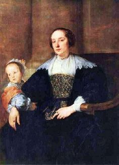 1630s Anthony van Dyck (Flemish artrist, 1599-1641) Anna van Thielen, wife of the painter Theodor Rombouts with their daughter