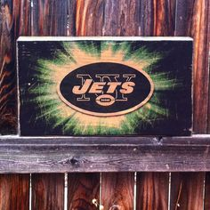 New York Jets Team Logo Wooden Wall Hanging by MegAndMosClubhouse
