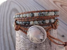 Triple Leather Wrap Bracelet with 4mm Green Line Jasper, Brown Distressed Leather & Indian Head Coin  by GSJewelry,  29.00