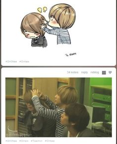 Taemin fixing Onew's hair (SHINee).  How cute is this?!