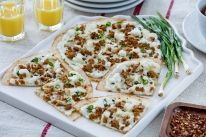 Our Breakfast Pizzas is carefully crafted to make your next meal time extraordinary. Cheese Sausage, Chicken Sausage, Yummy Snacks, Snack Recipes, Corn Tortilla Recipes, Breakfast Pizza, Tasty Dishes, Cooking Time, Meals