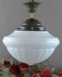 XL Jugendstil Deckenlampe Leuchte Hngelampe Art Dco Glas Messing Lampe Antik In Mbel Wohnen Beleuchtung Lampen