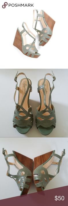 """Seychelles T-Strap Leather Wedges Seychelles T-Strap Leather Wedges. In seafoam green. Size 7. Approximate Measurements: Heel Height: 4.75""""; Platform: 1.25"""". Excellent Condition! Very minor wear, as shown. All Reasonable Offers Accepted. No Trades. Bundles: 20% OFF 2 or More! Seychelles Shoes Wedges"""