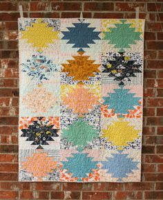 Modern Throw Quilt  Squash Blossom Lane by QuiltsByEmily on Etsy, $160.00