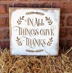 In All Things Give Thanks Wood Sign - Thanksgiving Decor - Fall Decor Rustic Wood Sign - Hostess Gift - Thanksgiving Wood Sign - Handpainted by Gratefulheartdesign on Etsy