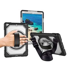 Save 40% on AMAZON with code H4UB4FJV Pinned on 9/26/2018 Miesherk Case for New iPad 2018/2017 with Hand Strap Neck Strap, Shockproof Drop Protection Cover with 360 Rotating Handle Built-in Stand for New iPad 9.7 inch 2018/2017 Transparent Ipad Pro 2, Electronic Deals, New Ipad, Computer Accessories, Protective Cases, Shoulder Strap, Layers, Handle, Drop