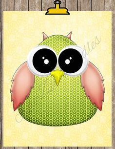 Owl Printable Nursery Wall Art Decor 8x10 by KaiZen Doodles on Etsy...totally adorable!!