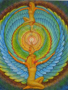 ISIS magic Wings Egyptian Goddess spiritual by HalstenbergStudio