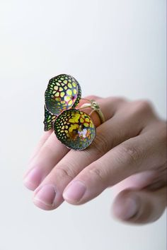 WUCHING-CHIH / Yellow bells ring coppersilver with plique-a-jour enamel Photo by.Good Photo Studio WUCHING-CHIH / Yellow bells ring coppersilver with plique-a-jour enamel Photo by. Enamel Jewelry, Metal Jewelry, Jewelry Art, Jewelry Rings, Jewelry Design, Unusual Rings, Unusual Jewelry, Handmade Jewelry, Contemporary Jewellery