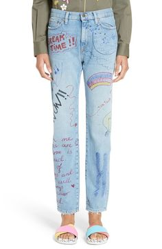 Main Image - Mira Mikati Hand Painted Doodle Crop Jeans