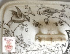 Soup Tureen Birds Bees Berries Cow Sheep Brown Transferware Aesthetic Movement Hand Painted Circa 1880's STUNNING