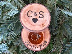 This would be a really neat keepsake if you go with the log decs....have ring bearer carry!!!! Personalized Wedding Ring Box Personalized by EndGrainWoodShoppe, $30.00