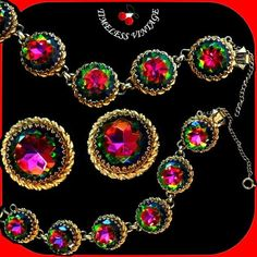 Vtg Elsa Schiaparelli Large Heliotrope Watermelon Rhinestones Bracelet Earrings | eBay