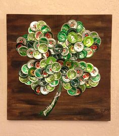 BeerBottle Cap Four-Leaf Clover 12 x 12 Painted Wood by KaysCapArt