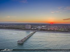 Sunset Over the Juno Beach Pier aerial photo taken from over the Atlantic Ocean. HDR image tone mapped in Aurora HDR software. Juno Beach Pier, Atlantic Ocean, Hdr, Aurora, Software, Florida, Celestial, Sunset, Water