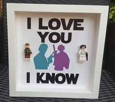 Han Solo & Princess Leia I love you Star wars, lego gift, lego frame, star wars… Bride Gifts, Wedding Gifts, Lego Frame, Lego Minifigure Display, Marvel Gifts, Lego Gifts, Han And Leia, Star Wars Decor, White Box Frame