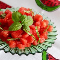 """Watermelon Basil Salad I """"The combination of basil with that little bit of lemon, chili powder and kosher salt is almost magical. And at 10 calories, go ahead and eat your heart out. WOW, loved it!"""""""