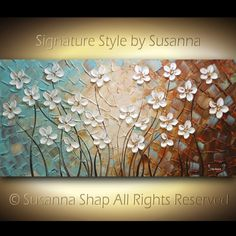 ORIGINAL Large Abstract White Flowers Painting by ModernHouseArt